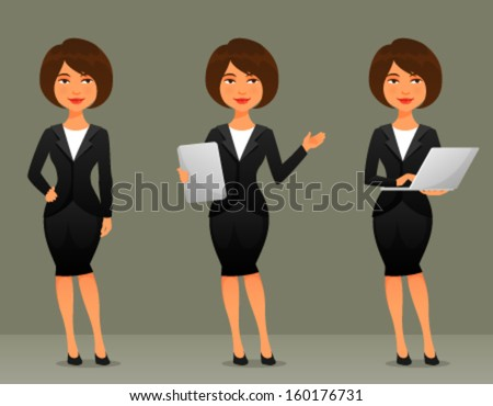 cute cartoon illustration of a beautiful business woman in various poses - stock vector