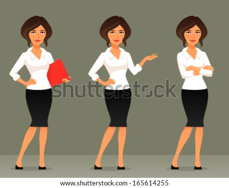 cute cartoon illustration of a beautiful business woman or secretary, in various poses - stock vector