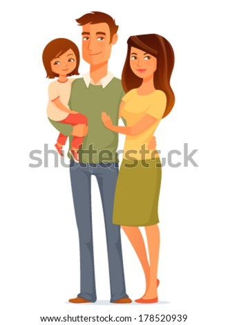 cute cartoon illustration of a happy young family - stock vector