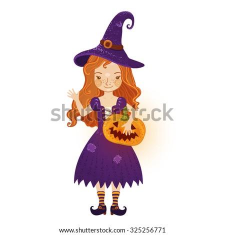 Cute cartoon illustration of a little witch girl with Halloween pumpkin - Jack-O-Lantern. Vector illustration, suitable for Halloween holiday - stock vector