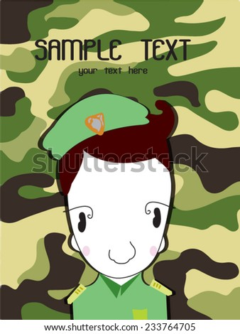 Cute cartoon illustration of a soldier background Green Camouflage Print - stock vector