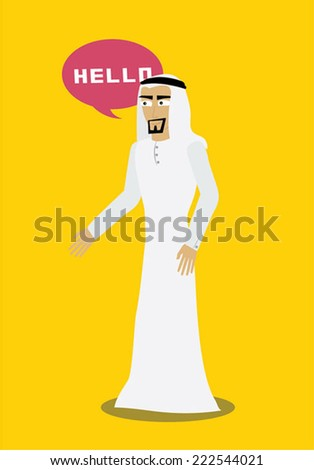 Cute cartoon illustration of a young Arab man with chat balloons in Khaliji  Fashion. Gulf.  Vector  - stock vector