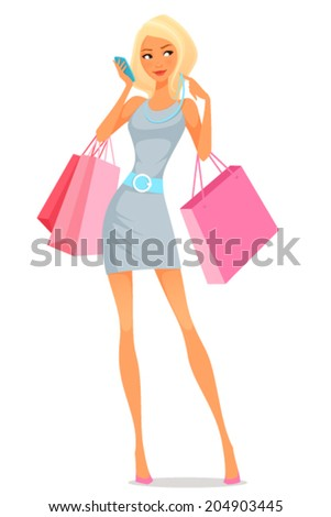 cute cartoon illustration of a young woman using her phone while shopping - stock vector