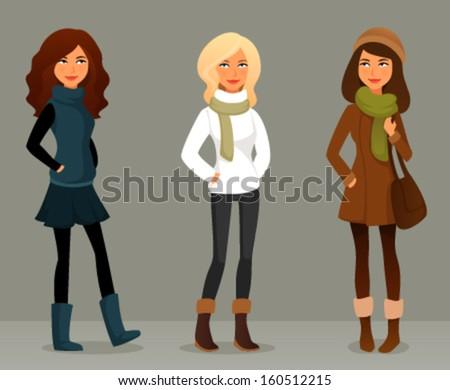 cute cartoon illustration of beautiful teenage girls in winter fashion clothes - stock vector