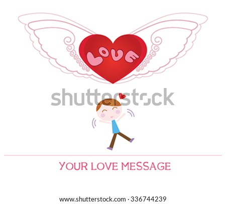 cute cartoon illustration of young man in love, love card. - stock vector