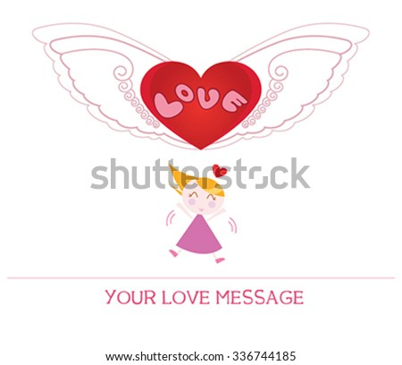 cute cartoon illustration of young woman in love, love card. - stock vector