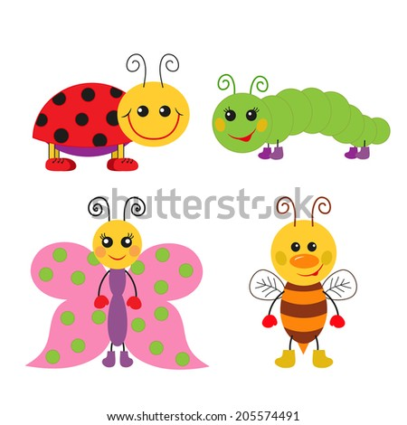 Cute cartoon insect set. Ladybug, bee, butterfly and caterpillar - stock vector