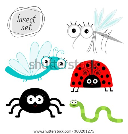 Cute cartoon insect set. Ladybug, dragonfly, mosquito, spider and worm Isolated Vector illustration - stock vector