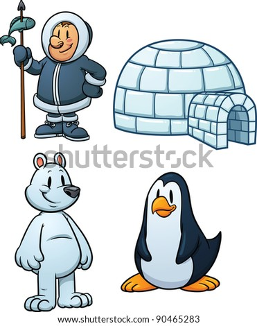 Cute cartoon Inuit, igloo, polar bear and penguin. Vector illustration with simple gradients. Each in a separate layer. - stock vector