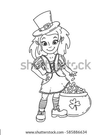 cute cartoon irish leprechaun girl pot stock vector 585886634 shutterstock. Black Bedroom Furniture Sets. Home Design Ideas