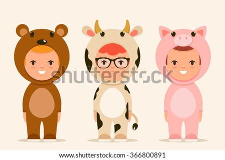 Cute Cartoon Kids in Animal Costumes: Bear, Cow and Pig. Vector Set - stock vector