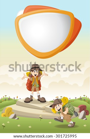 Cute cartoon kids in explorer outfit on a green park  - stock vector
