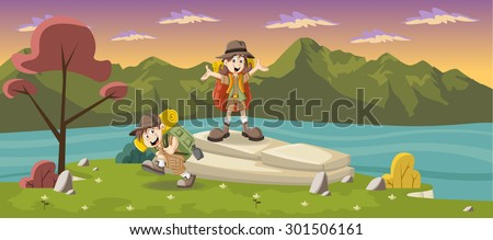 Cute cartoon kids in explorer outfit on a green park with a blue lake - stock vector