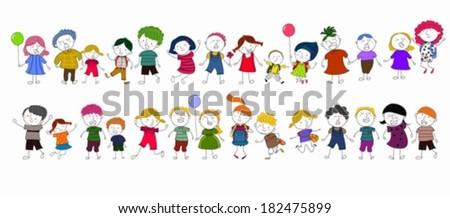 Cute cartoon kids playing. - stock vector