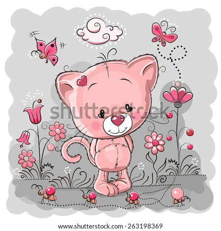 Cute Cartoon Kitten on a meadow with flowers and butterflies - stock vector