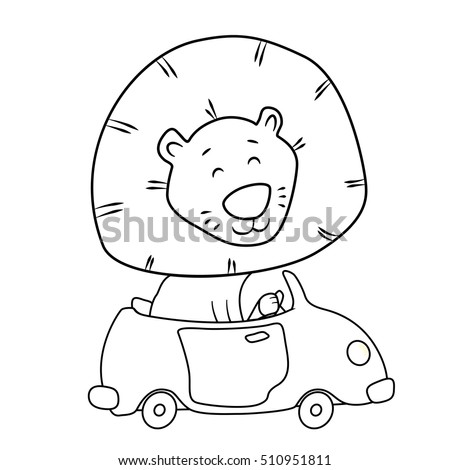 Cute Cartoon Lion Driving A Car Coloring Page For Kids Outline Drawing Line