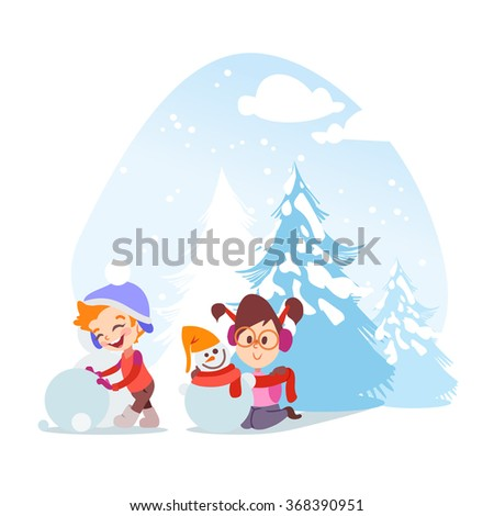 Cute cartoon little boy and girl sculpting snowman in winter garden. Vector illustration isolated on white background. - stock vector