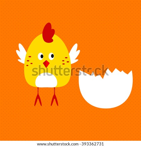 Cute cartoon little chicken looking at half egg she came from.  - stock vector