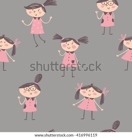 Cute cartoon little girls. - stock vector