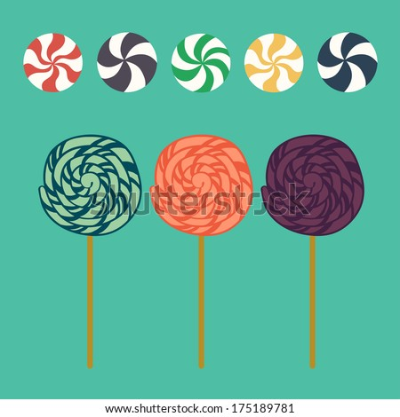 Cute cartoon lollipops and caramel candies in flat style isolated on blue background. - stock vector