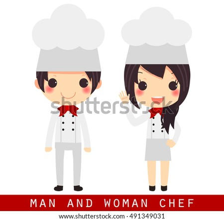 Cute Cartoon Man And Woman Chef In Uniform Isolated On White Backgroundvector Illustration