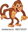 Cute cartoon monkey holding a banana. Vector illustration with simple gradients. All in a single layer. - stock vector