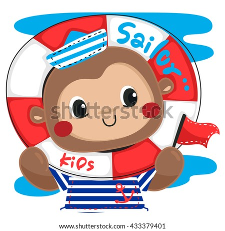 Cute cartoon monkey in sailor costume smiling holding flag with his head through a life ring. isolated on white background illustration vector. - stock vector