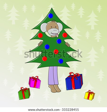 Cute cartoon monkey in suit Christmas tree with gifts - stock vector