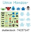 Cute cartoon monster. A set of varied monsters designed as construction kit - stock vector