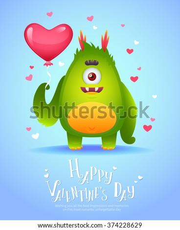 cute cartoon Monster Love Holding Pink Stock Vector 374228671 - Shutterstock