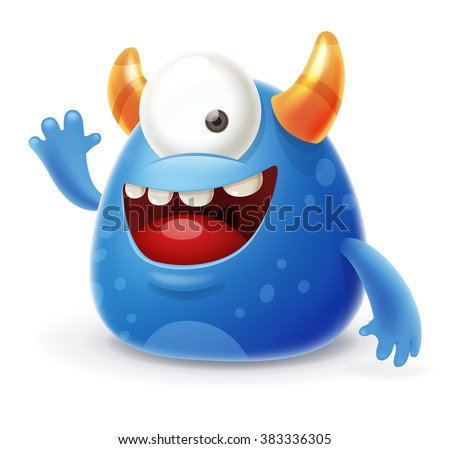 Cute Cartoon Monster Waving Hello - stock vector