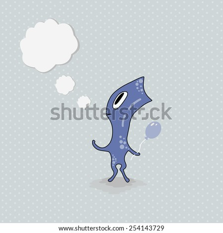 Cute cartoon monster with thought bubble - stock vector