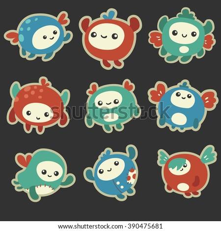 Cute Cartoon Monsters - stock vector