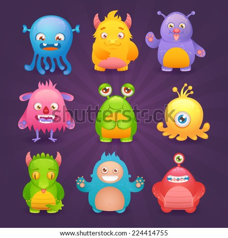 Cute cartoon monsters funny alien character icons set isolated on dark background vector illustration - stock vector