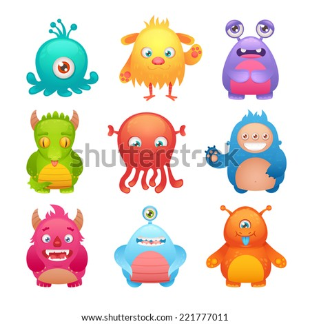 Cute cartoon monsters funny alien character icons set isolated vector illustration