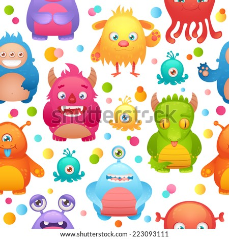 Cute cartoon monsters little funny alien mutant character seamless pattern vector illustration