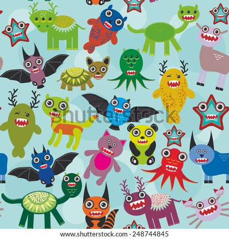 Cute cartoon Monsters seamless pattern on blue background. Vector