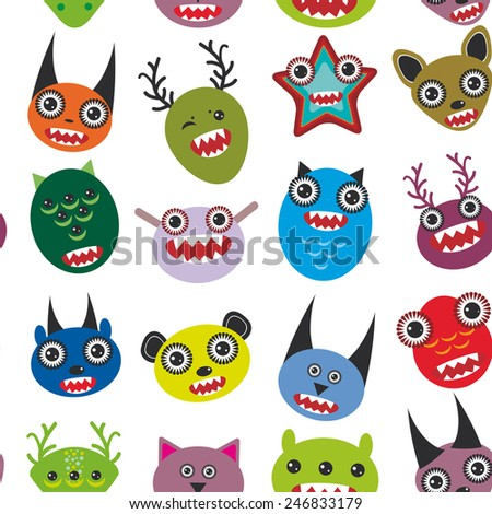 Cute cartoon Monsters Set.  seamless pattern on white background.vector - stock vector