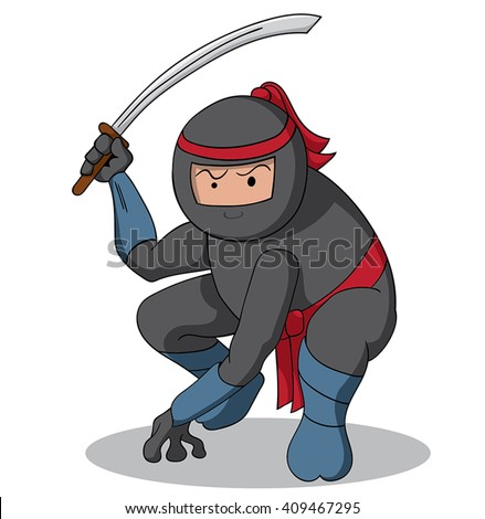 Cute cartoon ninja