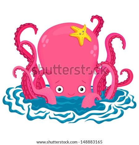 Squid cartoon Stock Photos, Squid cartoon Stock Photography, Squid ...