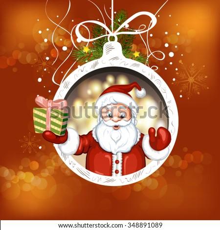 Cute cartoon of a Santa Claus holding a gift box - stock vector