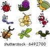 Cute cartoon of many bugs - stock vector