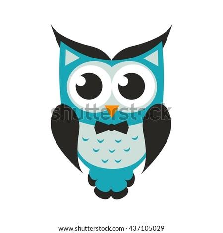 cute cartoon owl - stock vector
