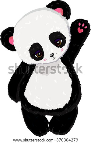 Cute cartoon panda waving - Vector clip art - stock vector