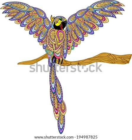 Cute cartoon parrot on isolated white background, vector illustration. drawing consists of doodles. Colorful doodles.Drawing for the magnet. Parrot sitting on a branch. eps 8. All in a single layer.   - stock vector
