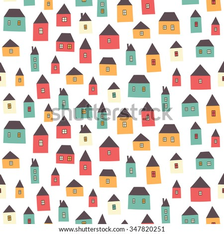 Cute cartoon pattern with tiny houses. Seamless vector background.