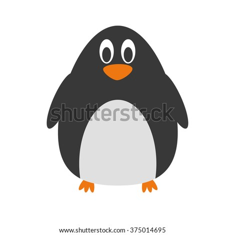 Cute cartoon penguin vector illustration - stock vector