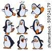 Cute cartoon penguins all in separate layers for easy editing. - stock photo