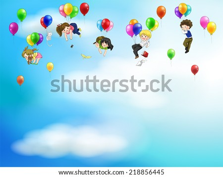 Cute cartoon people and children floating in the sky with balloons background, create by vector - stock vector