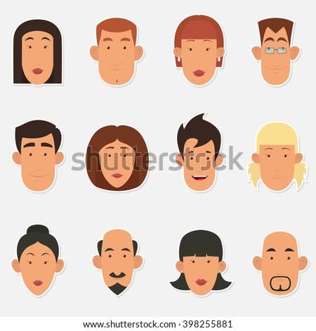 cute cartoon people face. cartoon avatars. avatars business people. business avatar,  people avatar,  people avatar icon,  character avatar,  avatar people,  face avatar, avatar flat, avatar vector - stock vector